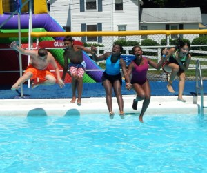 older kid camp pool jump
